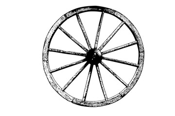 Old wheel cart vector illustration