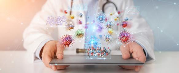 Doctor using digital nanobot virus 3D rendering