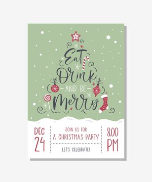 Vector christmas party invitation with handwritten modern brush lettering.