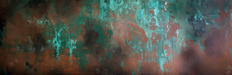 Foto op Aluminium Metal Rusty metal texture, background, design, pattern, long banner