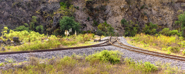 old reversible loop for the train at the devil's nose near Alausi, Ecuador