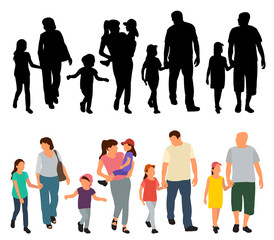 Wall Mural - walking people, set, flat style and silhouette