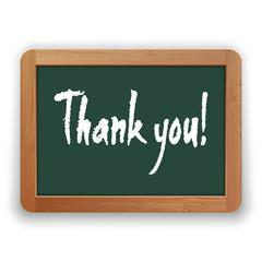 Vector Hand Drawn Thank You on a Green Blackboard