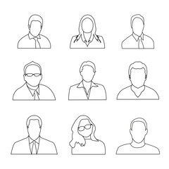 Man Woman Avatar Outline Set Collection, Man Woman Avatar Set, Avatar Set Collection, Professional Avatar Set Outline
