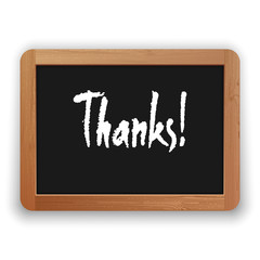 Vector Hand Drawn Thanks Word on a Blackboard