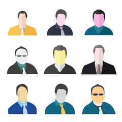 Businessman Avatar Icon Set, Man avatar Set, Business People Character Set - Illustration