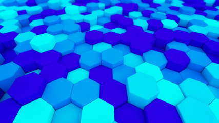 Digital data. Hexagon shape in structure of architecture technology concept on blue background, 3d abstract illustration
