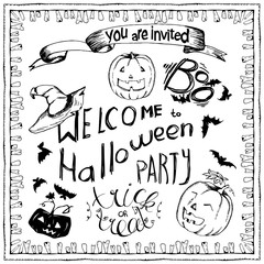 set of Halloween hand drawn elements, lettering and zombee teeth frame for greeting cards. Hand drawn sketches for your design of poster, cards, invitations, cover tepmlate of greeting card