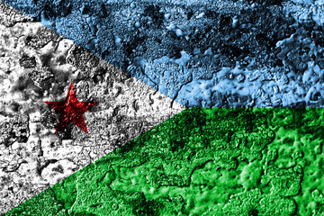 Djibouti grunge rusted metal texture flag, rust metal background