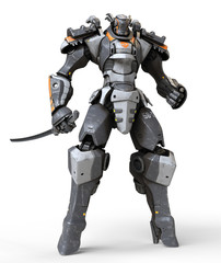 Mech samurai warrior standing and holding katana sword in his hand. Robot hand clenched in fist. Futuristic robot with white and gray color metal. Sci-fi Mech Battle. 3D rendering on white background