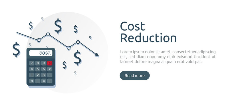 cost reduction concept. calculator and arrow line decrease. dollar money fall down symbol. economy stretching rising drop. Business lost crisis. bankrupt icon. banner vector illustration.