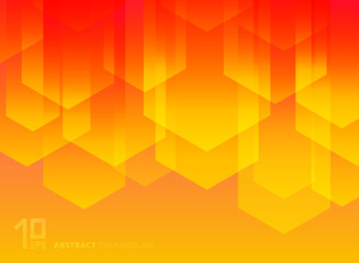 Abstract yellow and red geometric triangles simple shapes with trendy gradients composition background.