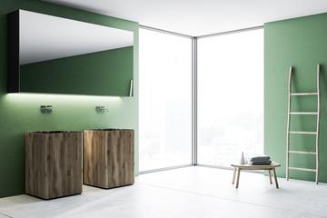 Wood double bathroom sink in green room