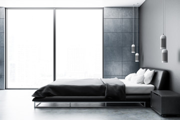 Gray panoramic bedroom interior, side view