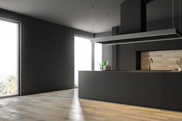 Wooden floor kitchen corner, gray counters