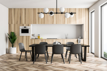 Wooden kitchen interior, black table