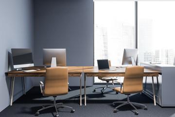 Loft office interior with blue walls