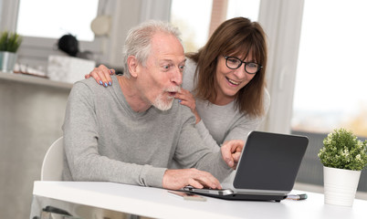 Happy mature couple having a good surprise on laptop
