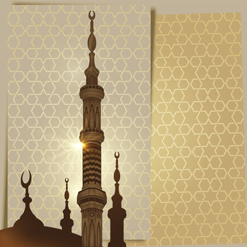 Mosque tower or minaret elements on arabic ornament background