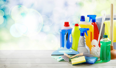 Assorted of plastic bottles with cleaning supplies