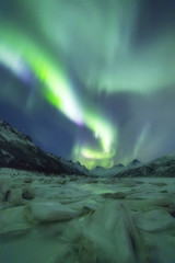 Northern Lights (Aurora borealis), Olderfjorden, Svolvaer, Lofoten Islands, Nordland, Norway, Europe