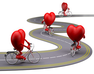 hearts with arms and legs on bicycle on the road