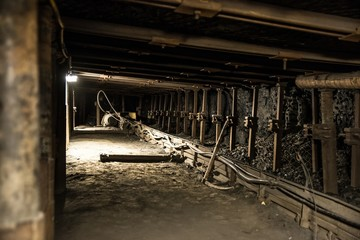 Iron roof supports in coal mine