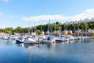 Sailing Boats moored at Penarth Marina, Penarth, Cardiff