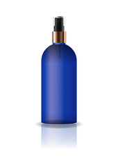 Blank blue cosmetic round bottle with pressed spray head for beauty or healthy product. Isolated on white background with reflection shadow. Ready to use for package design. Vector illustration.