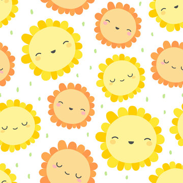 Cute flowers pattern, smile face cartoon seamless background, vector illustration