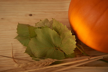 Pumpkin and grape leaves on rustic wooden table