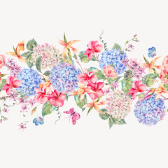 Vector vintage floral greeting card with hydrangeas, orchids