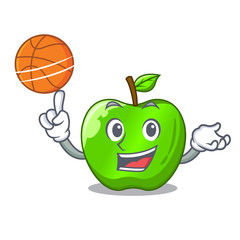 With basketball cartoon of big shiny green apple