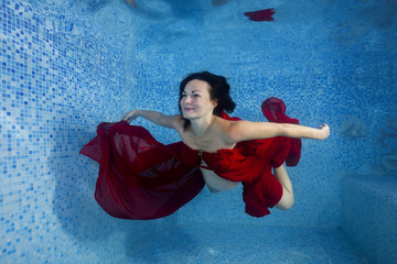 bb545d71f609a Pregnant woman in a red dress posing underwater in the pool
