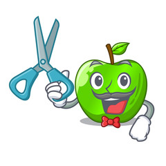 Barber cartoon of big shiny green apple