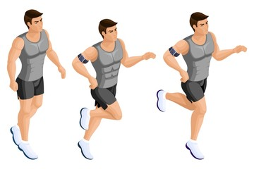 Isometric male athlete, running, jumping, athletic build, strong man, muscles. Set of vector characters