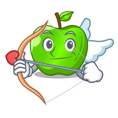 Cupid cartoon of big shiny green apple