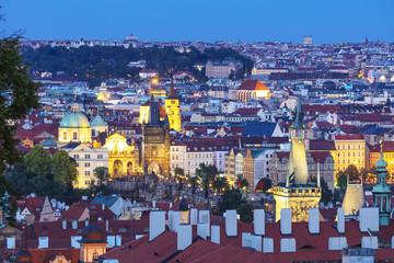 Charles Bridge and old town, Prague, Bohemia, Czech Republic