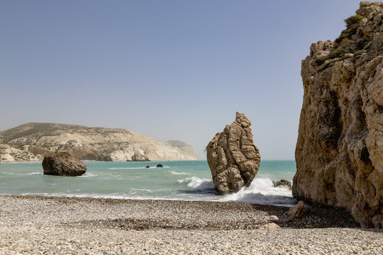 Aphrodite's Rock (Petra tou Romiou) sea stack in southern Cyprus between Paphos and Limassol, Cyprus, Mediterranean