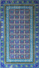 Ottoman style glazed ceramic tiles decorated with floral ornamentations manufactured in Iznik