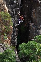 Rock climber in action, Serra do Cipo, Minas Gerais, Brazil, South America