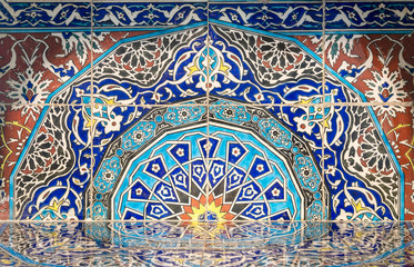 Part of fireplace from the royal era built of Turkish glazed ceramic tiles with floral ornamentations manufactured in Iznik, Egypt