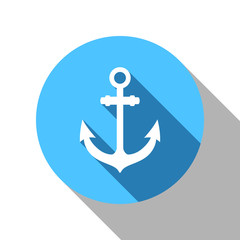 Anchor flat blue shadow icon. vector eps 10