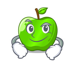 Smirking character ripe green apple with leaf