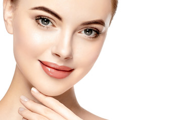 Beautiful Woman Face Portrait Beauty Skin Care Concept. Isolated on white