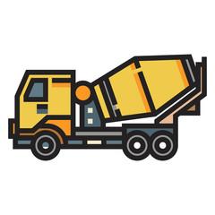 Concrete mixer truck LineColor illustration