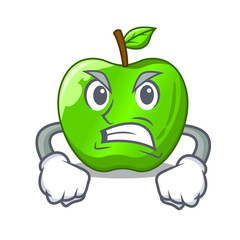 Angry perfect fresh green apple on cartoon
