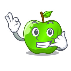 Call me green smith apple isolated on cartoon