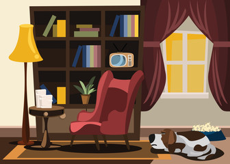 dog in living room vector illustration