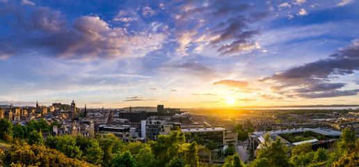 Panoramic view from Calton Hill over Edinburgh skyline from Edinburgh Castle to Forth Bridge